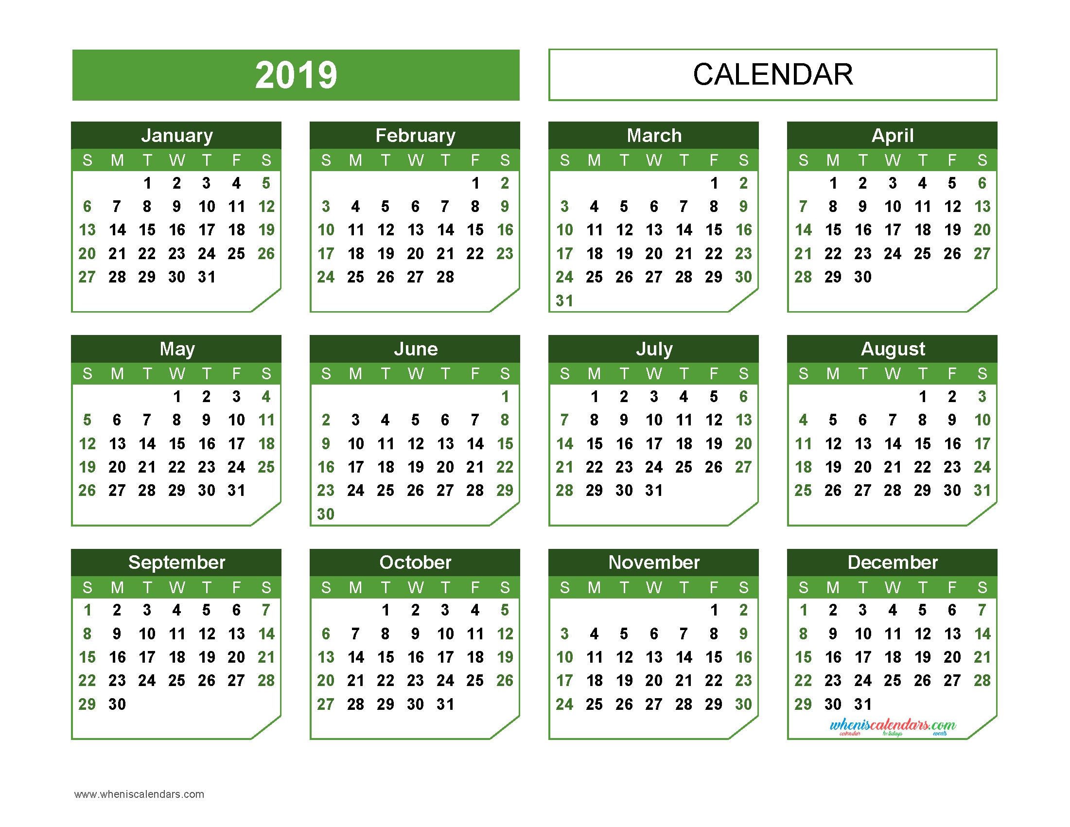 2019 Yearly Calendar Printable Landscape Format Green In Champer