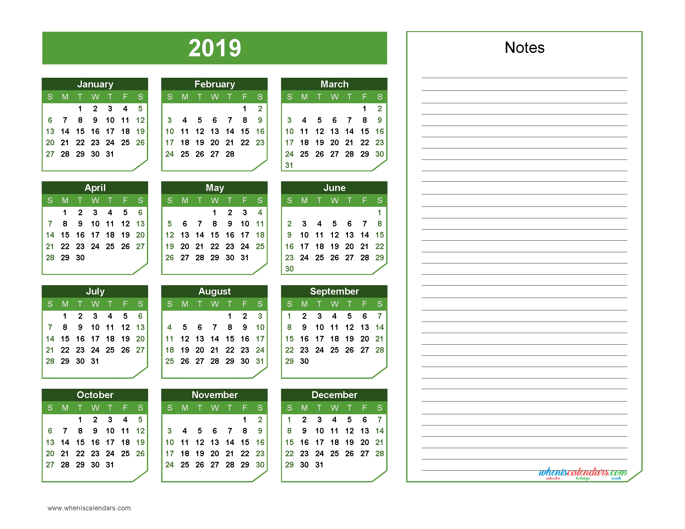 2019 Yearly Calendar With Notes Printable Chamfer Collection Green