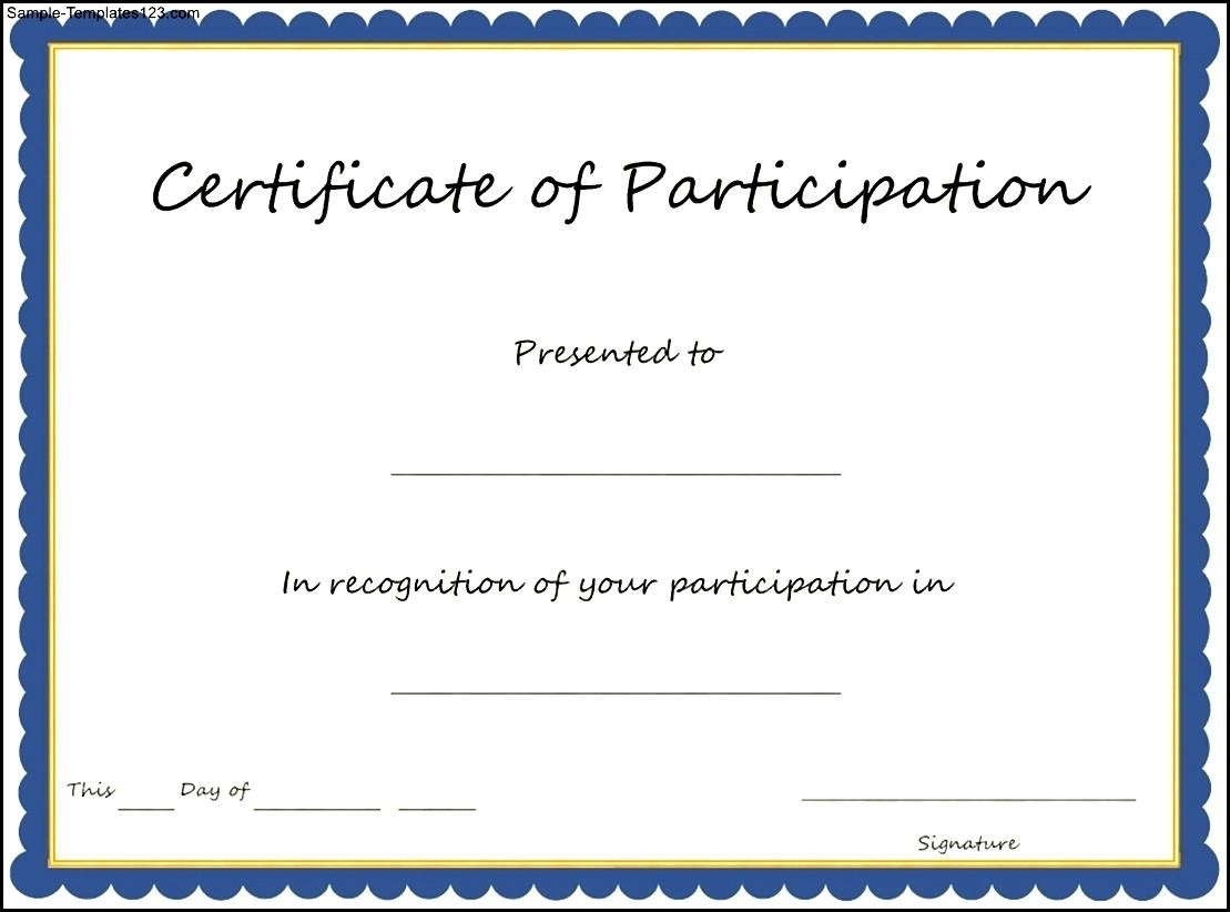 29 Images Of Blank Participation Certificate Template Printable