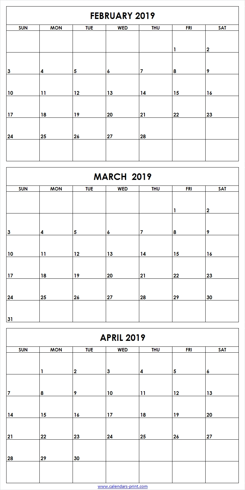 3 Monthly February March April 2019 Calendar Editable Template