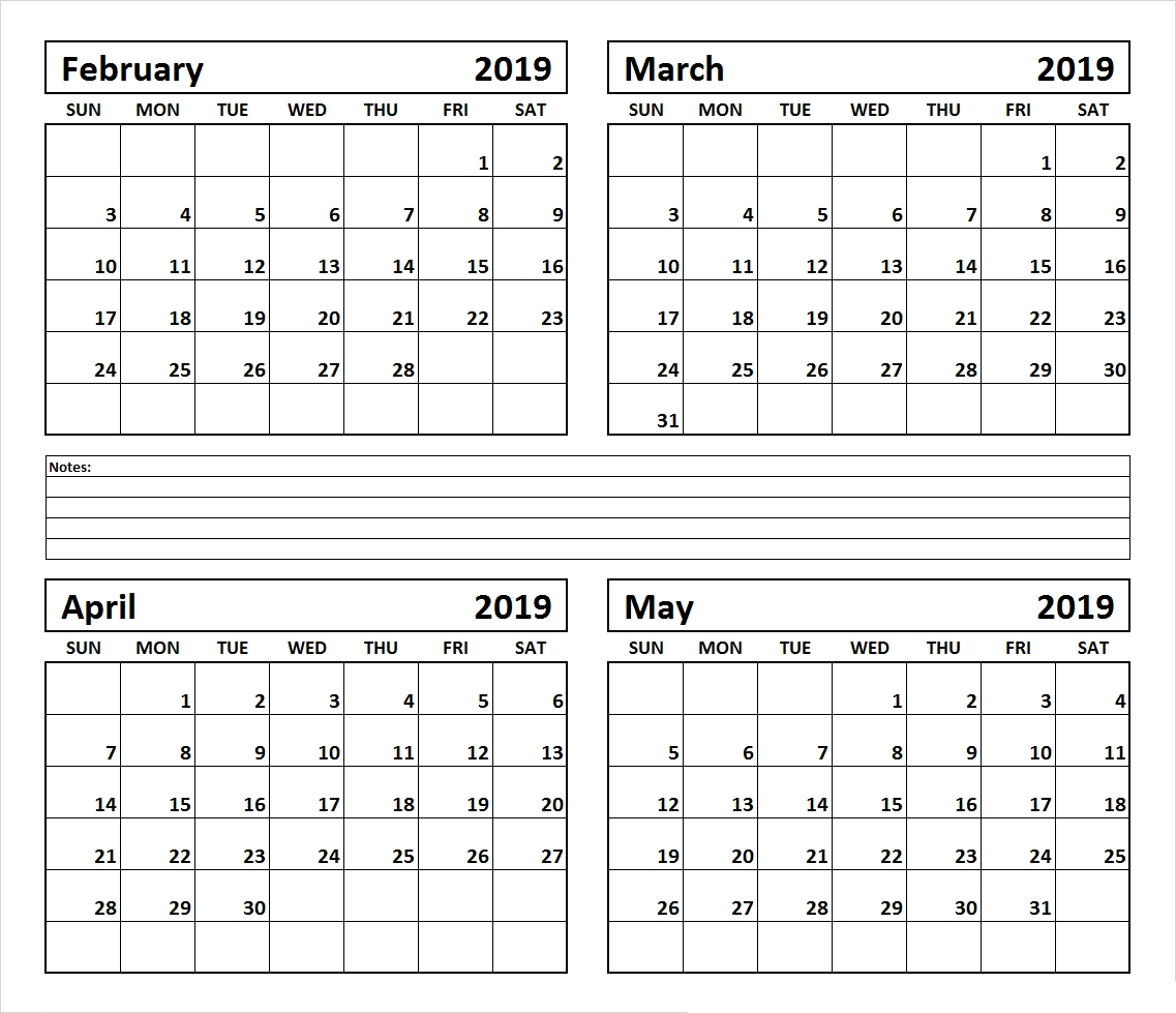 4 Month February March April May 2019 Calendar March April May