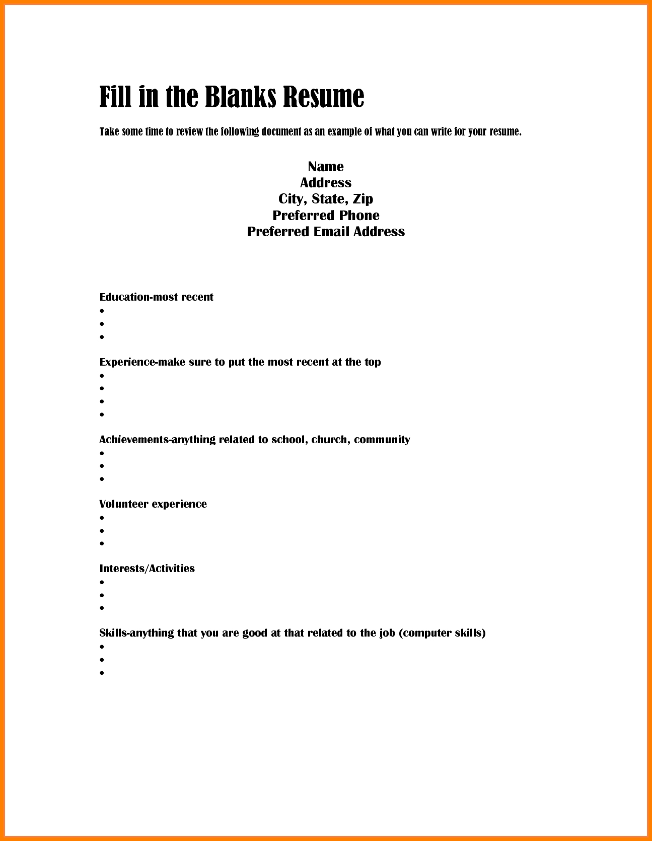 7 Easy Blank Resume Dragon Fire Defense