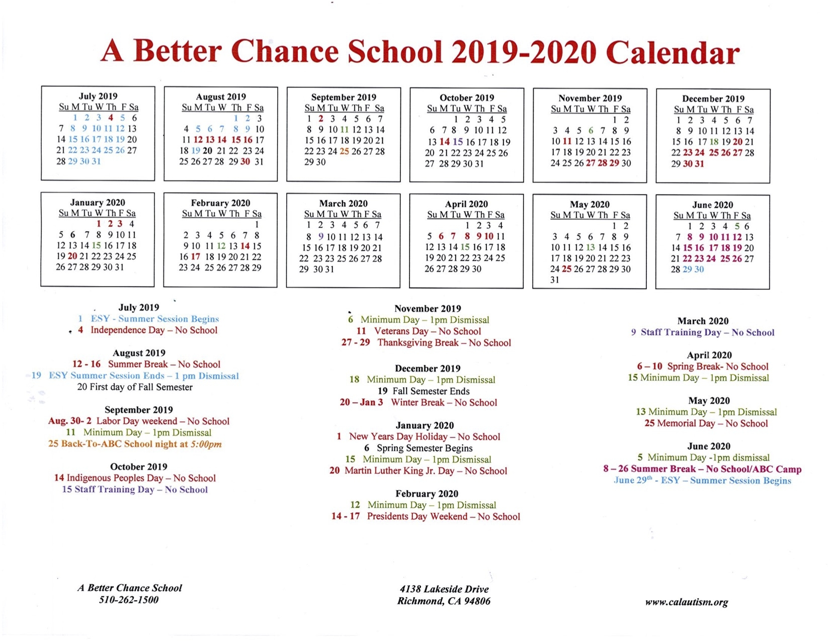 A Better Chance School 2019 2020 Calendar California Autism Foundation
