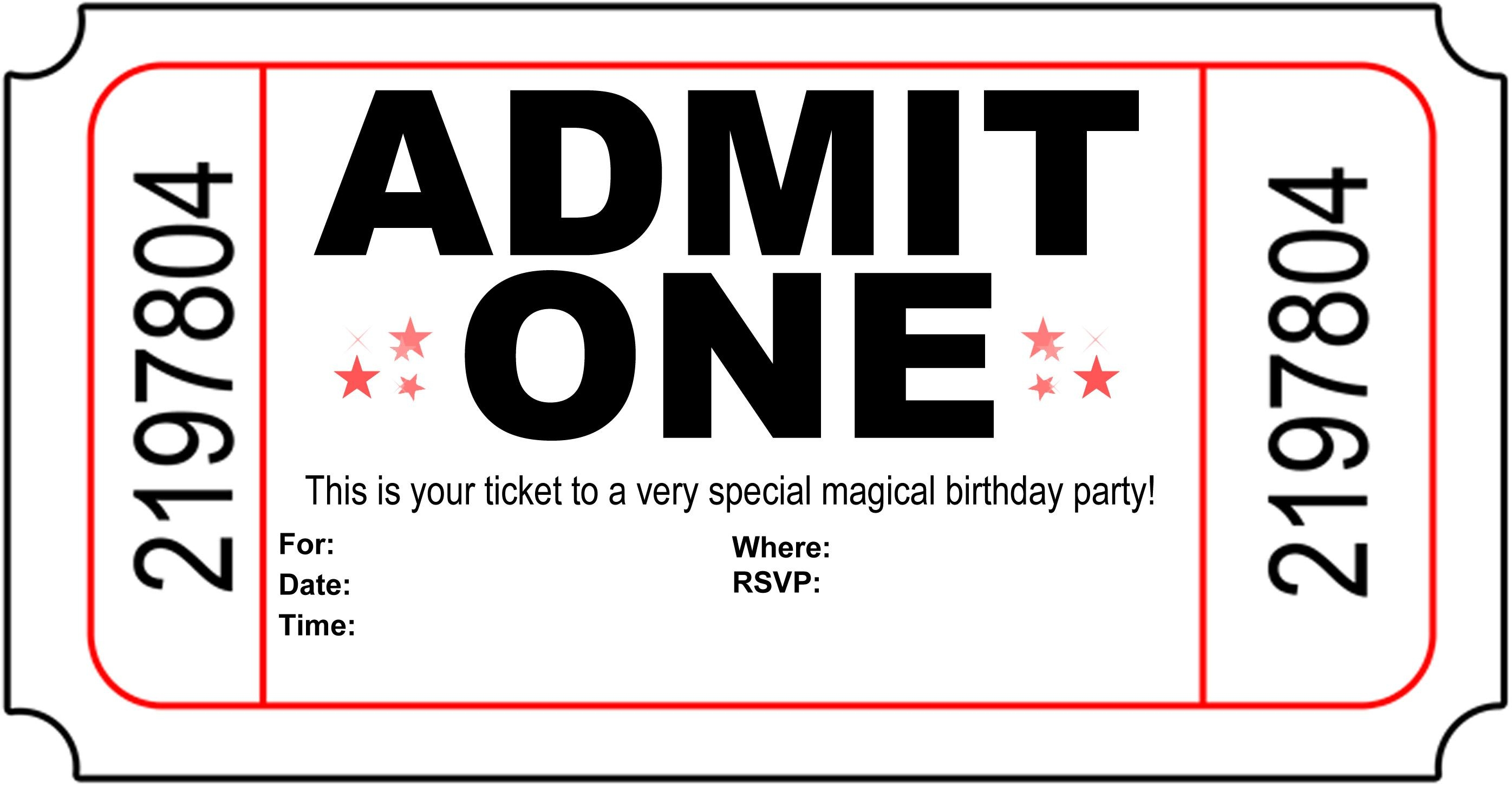 Admit One Invitations Template Free Free Invitation Ticket Bunch