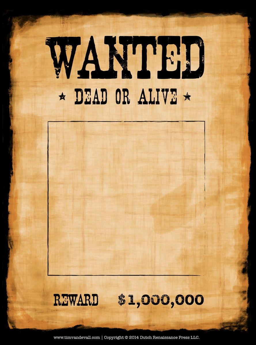 Another High Caliber Wanted Poster Template Reprinted In Shades Of