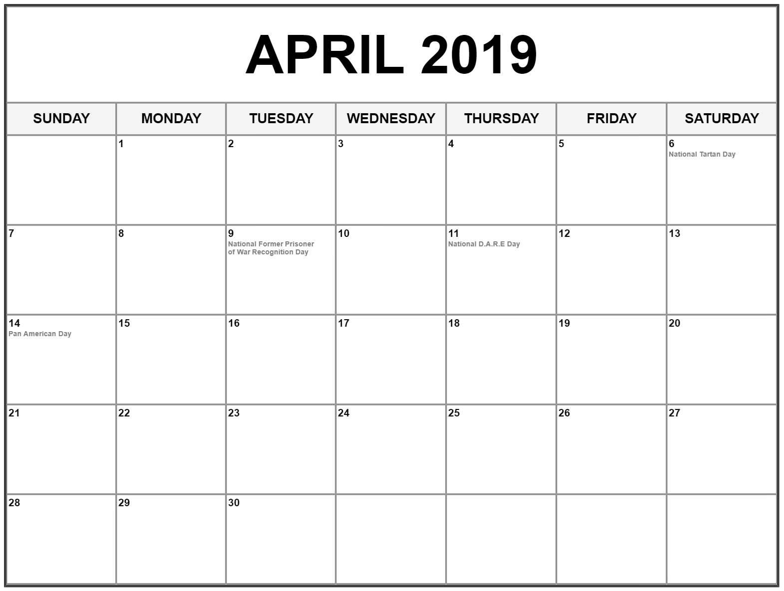 April 2019 Calendar Monthly India Free Printable Calendar Holidays