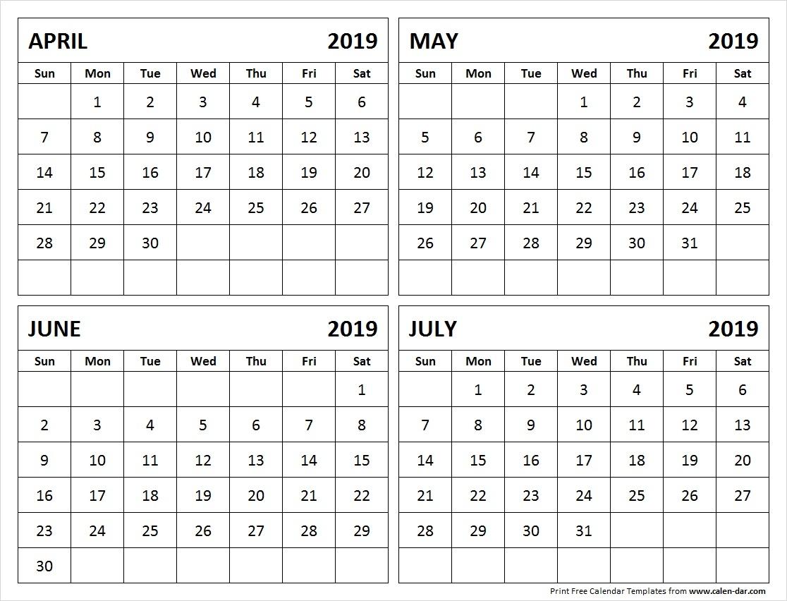 April May June July 2019 Calendar Printable Calendar