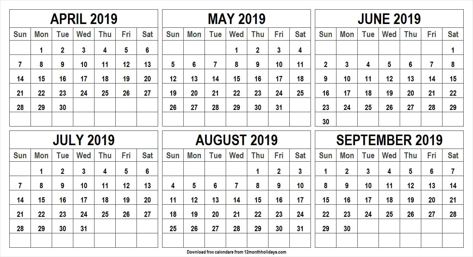 April September 2019 Half Year Calendar All 12 Month Calendar