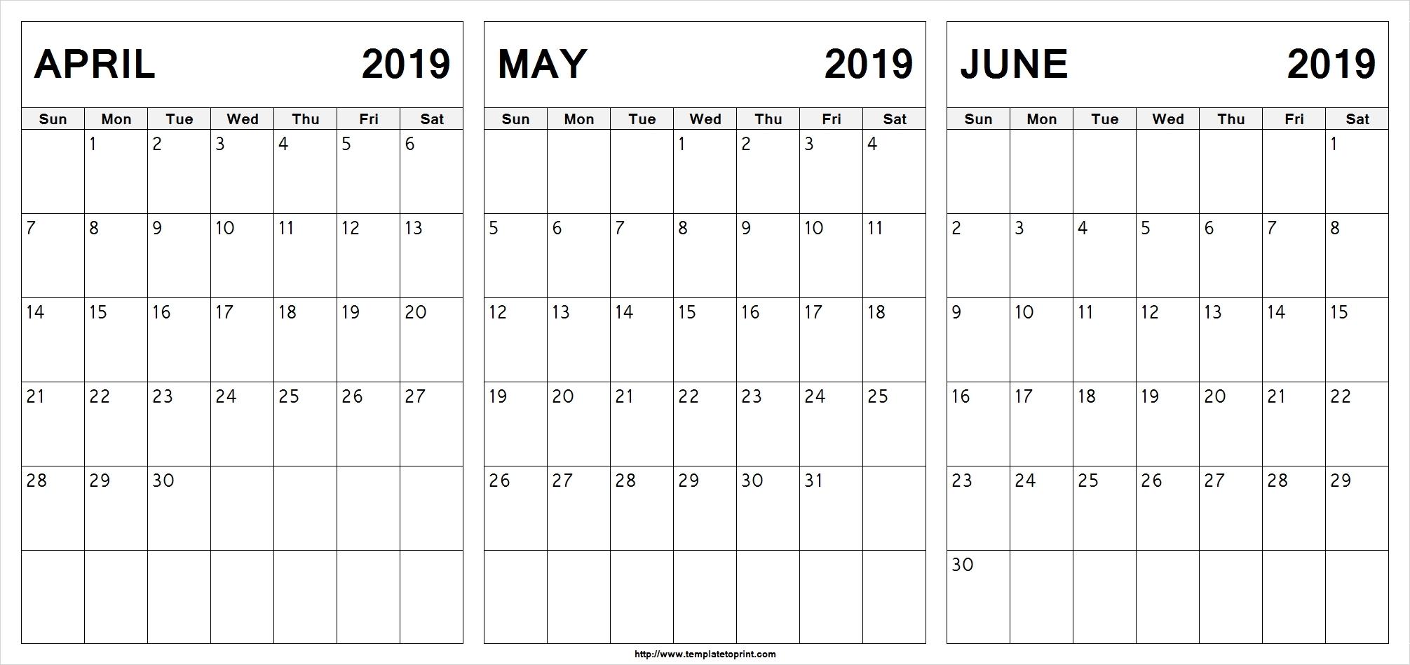 April To June 2019 Calendar Template Calendar Printable