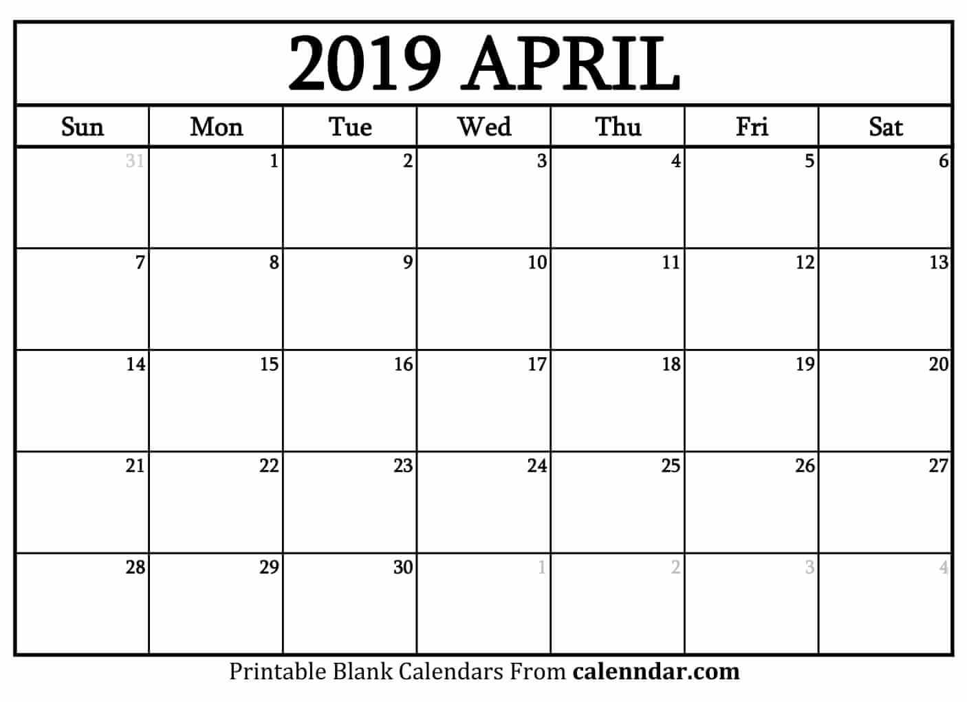 Blank April 2019 Calendar Templates Calenndar