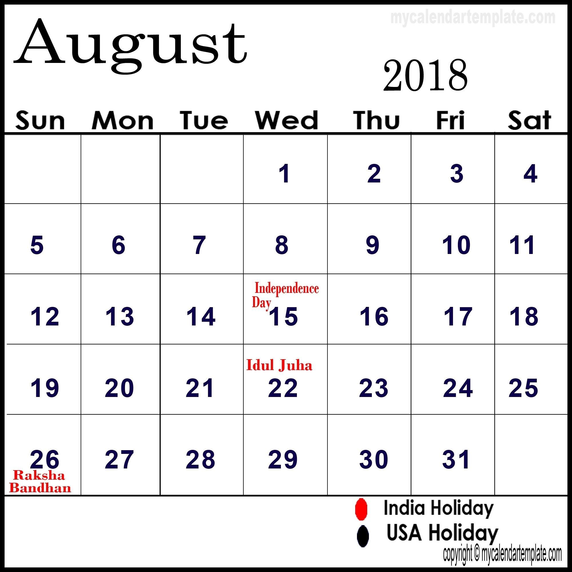 Blank August 2018 Calendar August 2018 Printable Calendar Calendar