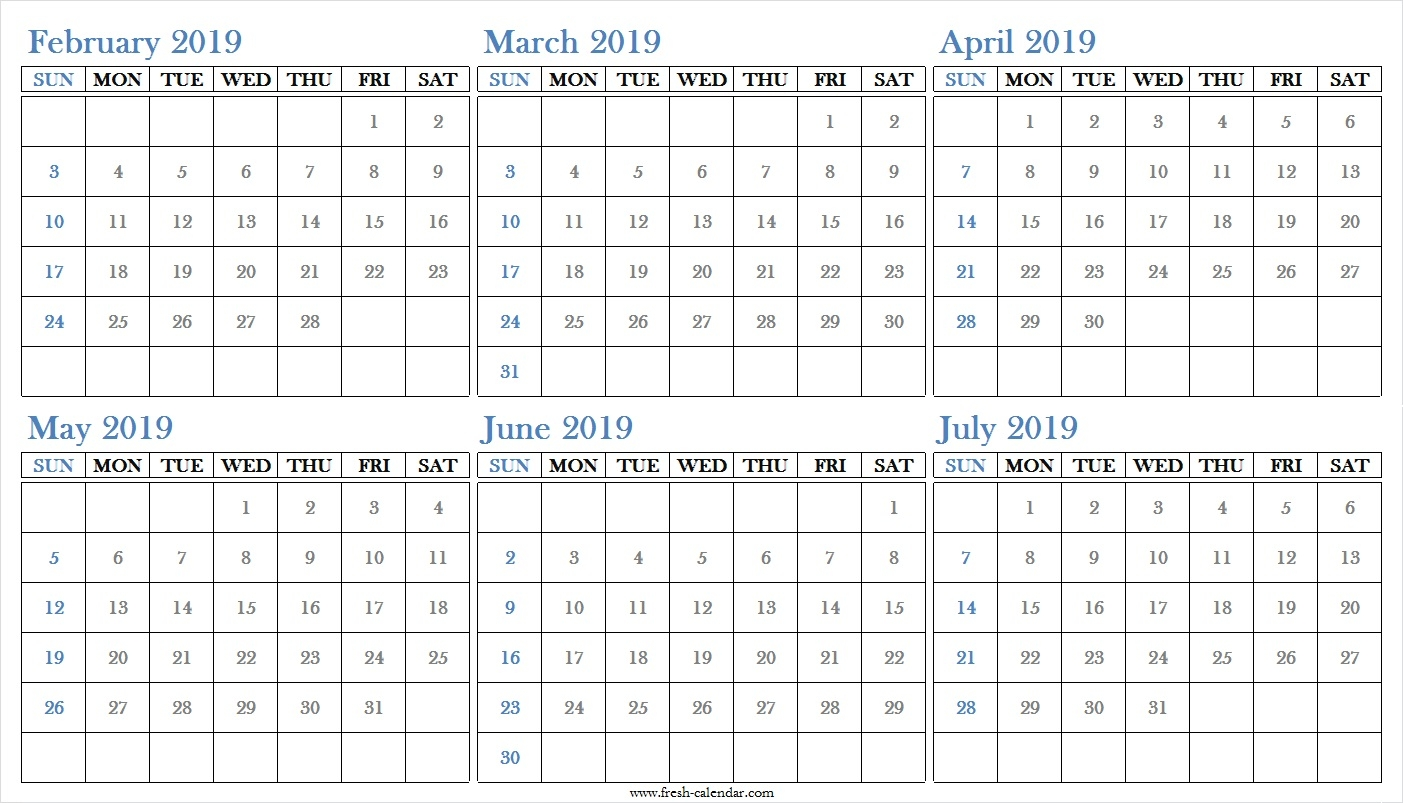 Blank Six Months 2019 February To July Calendar Printable Free