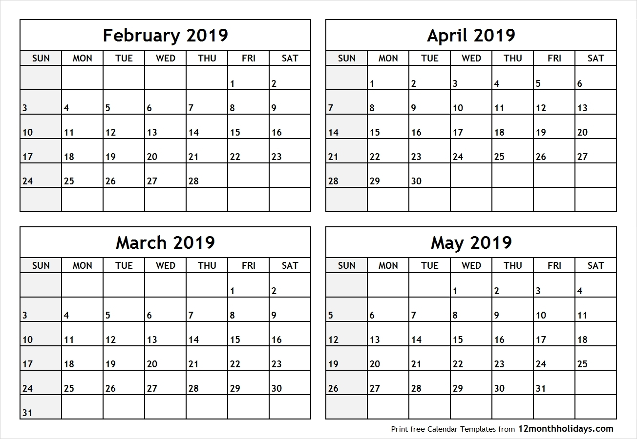 Calendar February March April 2019 Template Calendar Printable