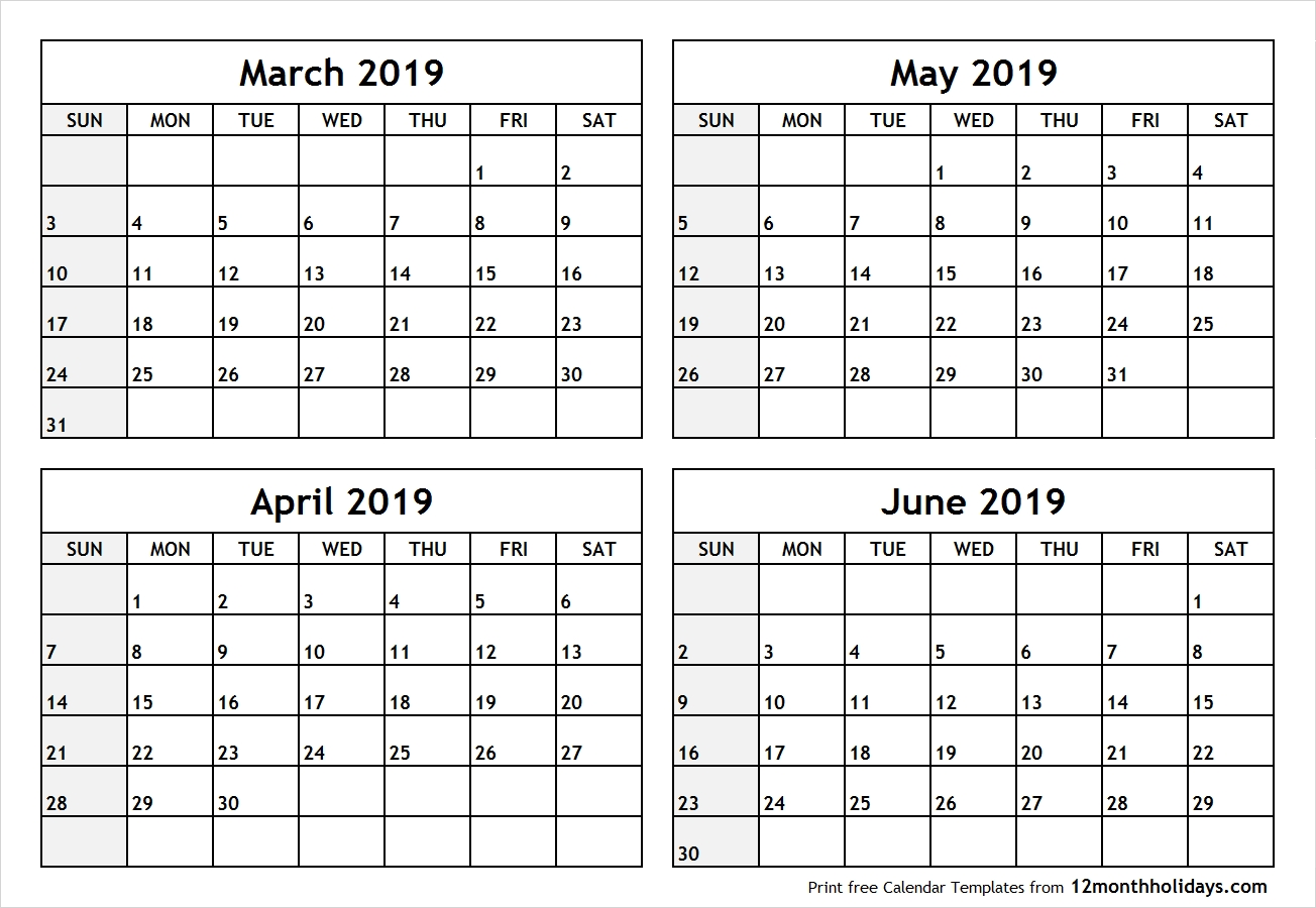 Calendar March To June 2019 Printable All 12 Month Calendar Printable