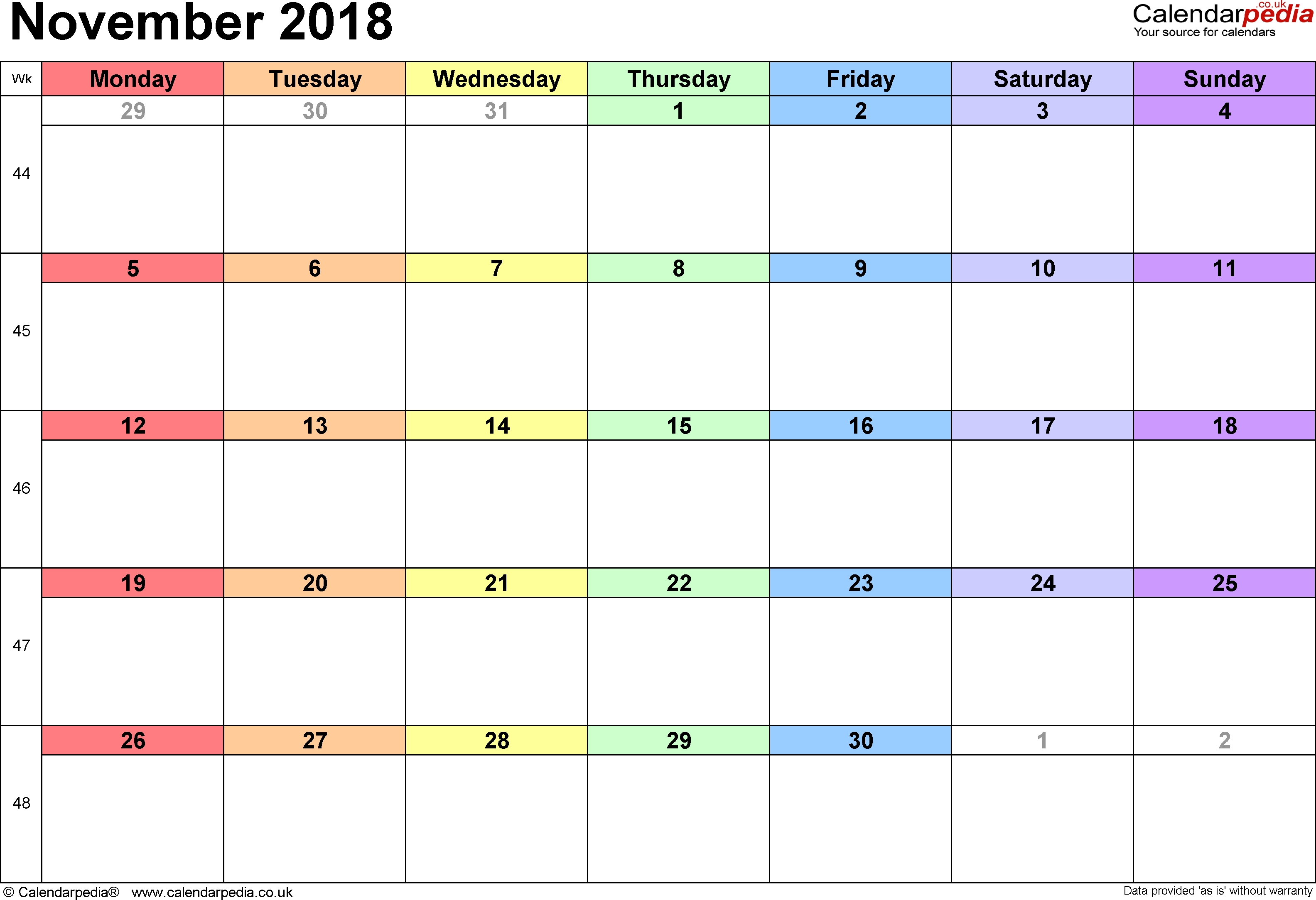 Calendar November 2018 Uk Bank Holidays Excelpdfword Templates