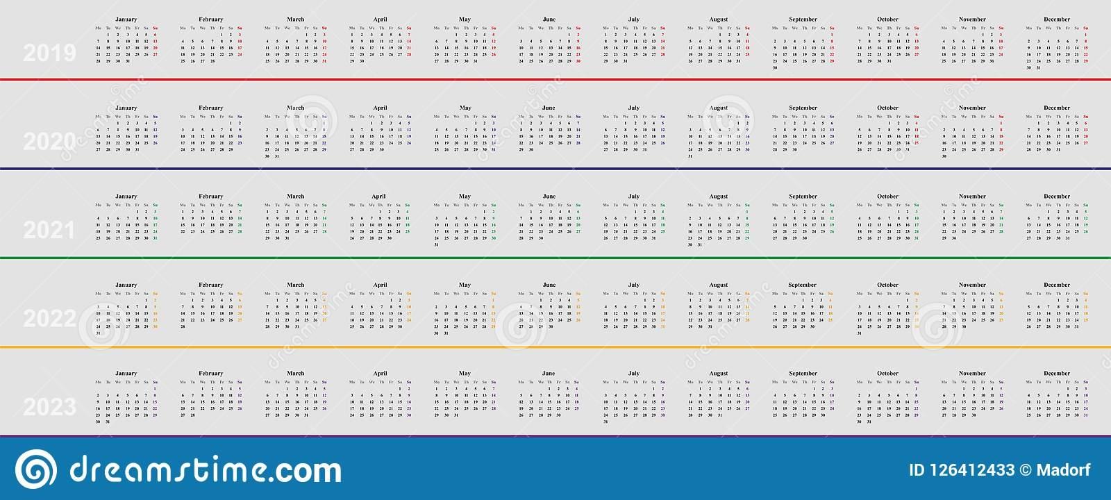 Calendar Template Fr Years 2019 2020 2021 2022 2023 Stock
