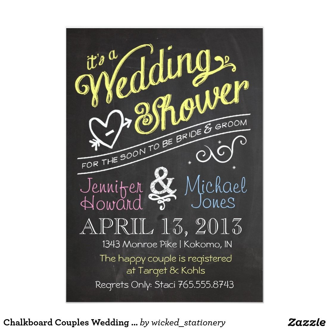 Chalkboard Couples Wedding Shower Invitation Elegant Chalkboard