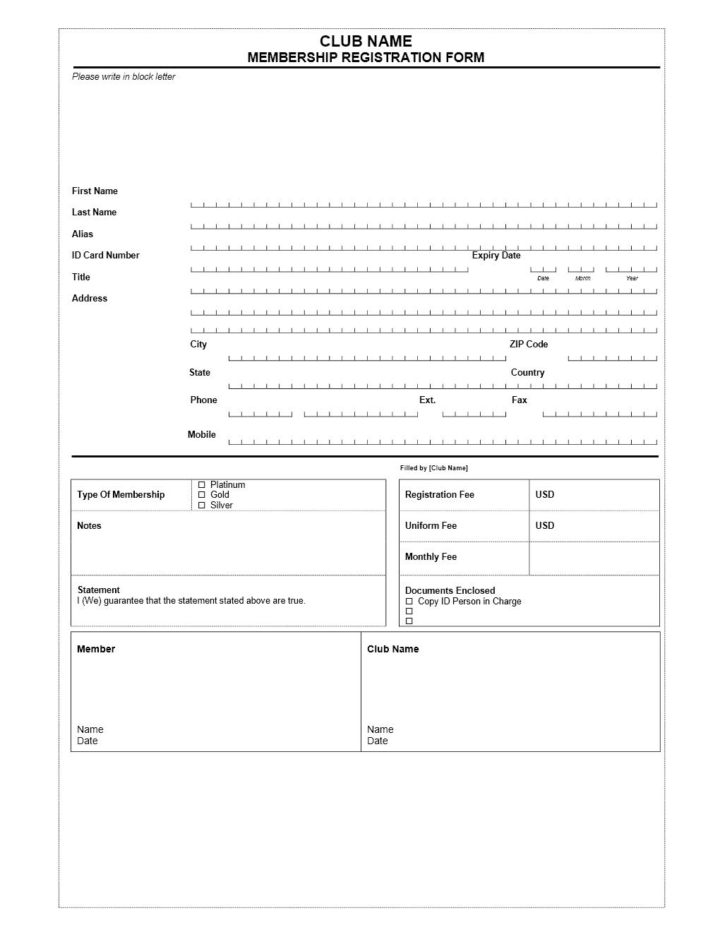 Club Membership Application Form