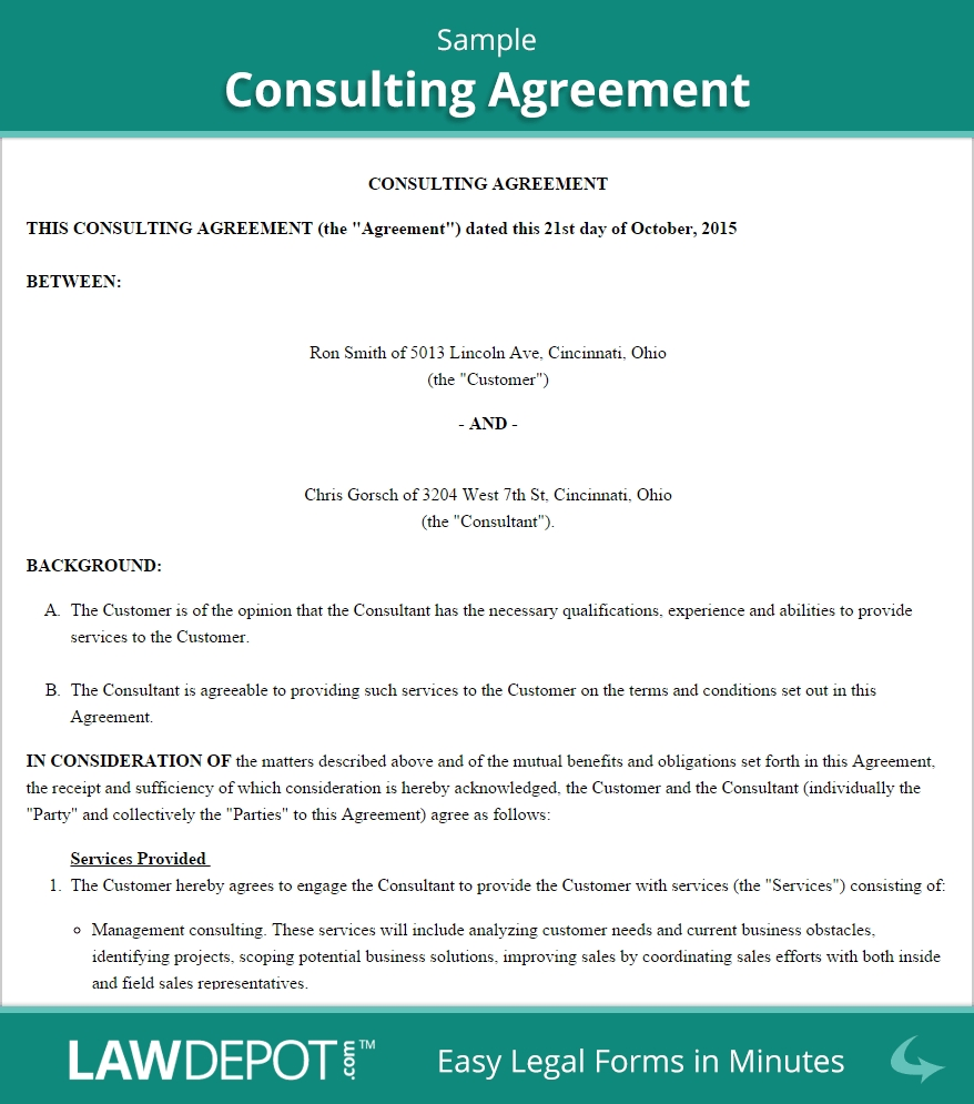 Consulting Agreement Template Us Lawdepot