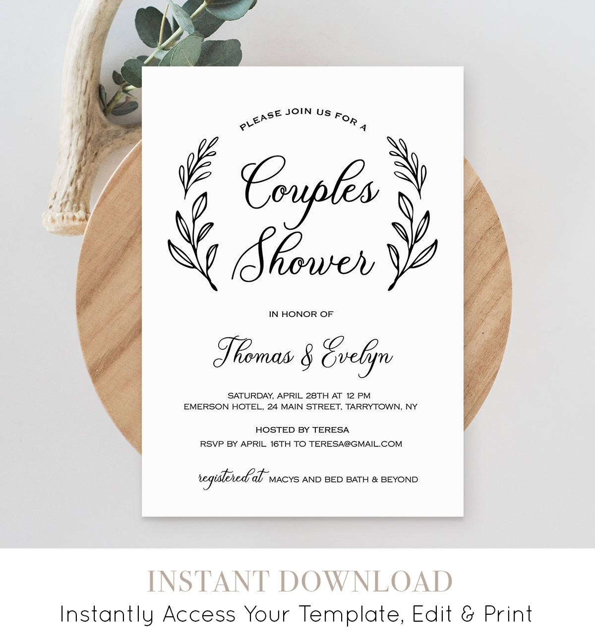 Couples Shower Invitation Template Printable Wedding Shower Invite
