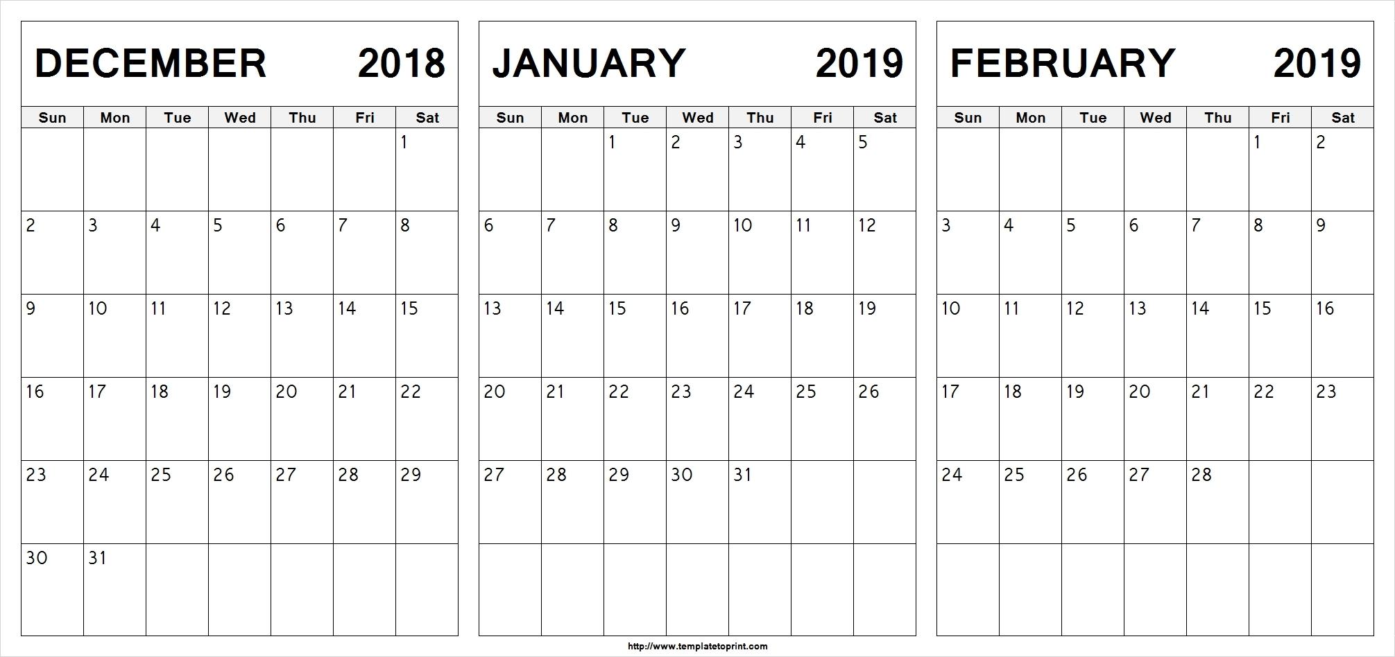 December January February 2019 Calendar Template Calendar Printable