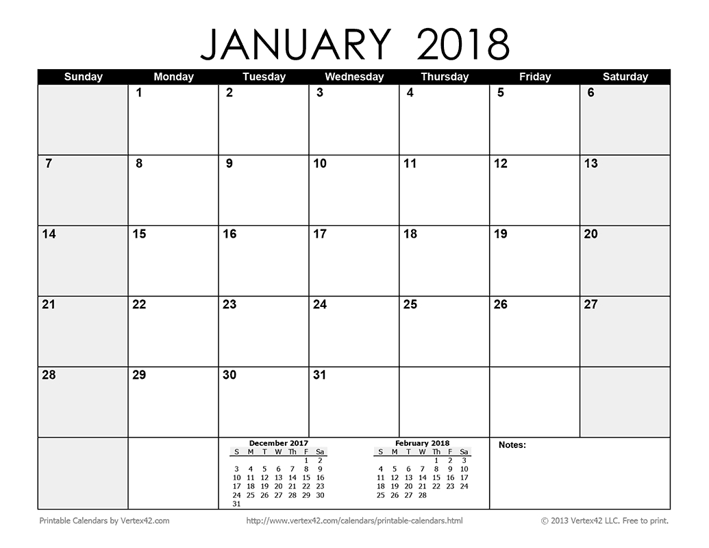 Download A Free Printable Monthly 2018 Calendar From Vertex42
