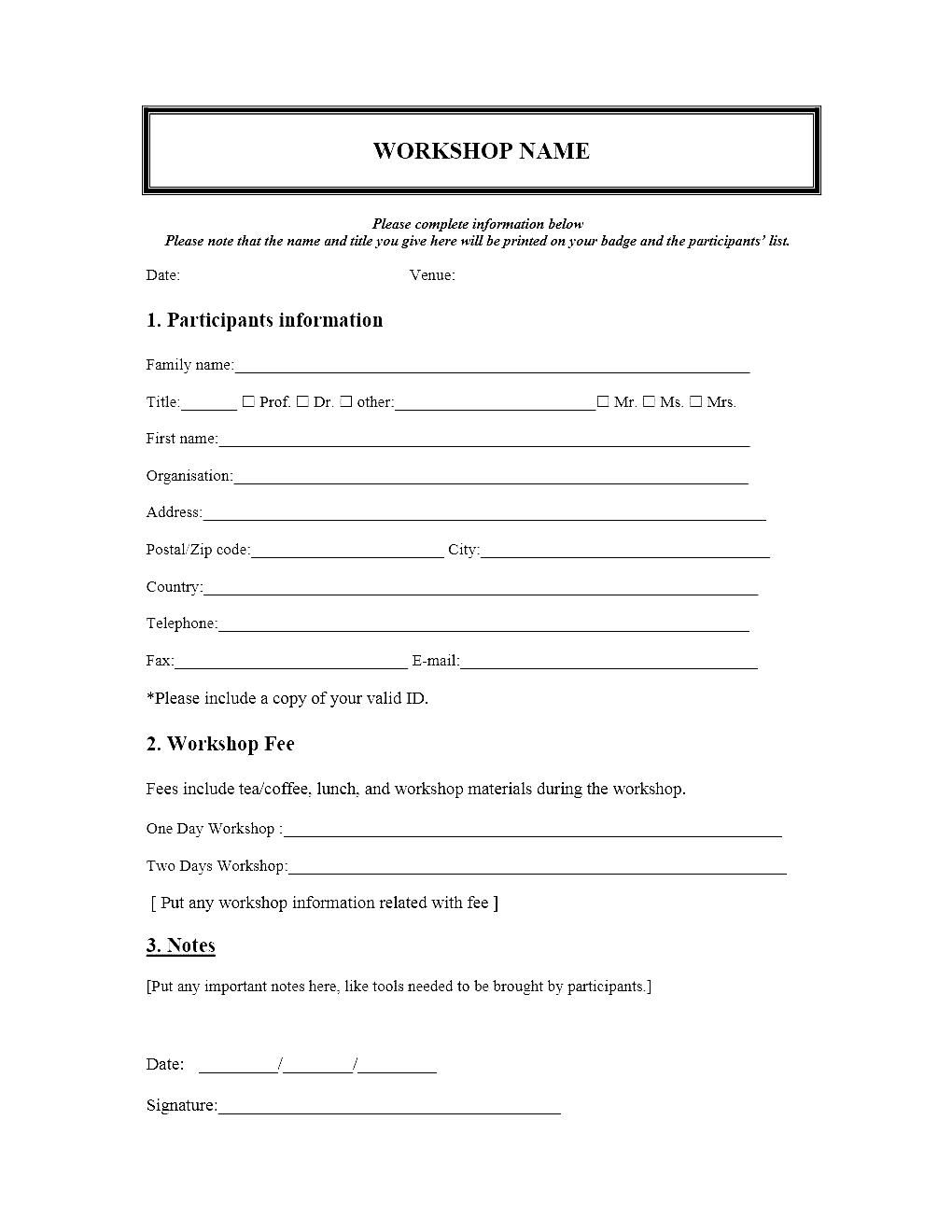 Event Registration Form Template Microsoft Word Besttemplate123