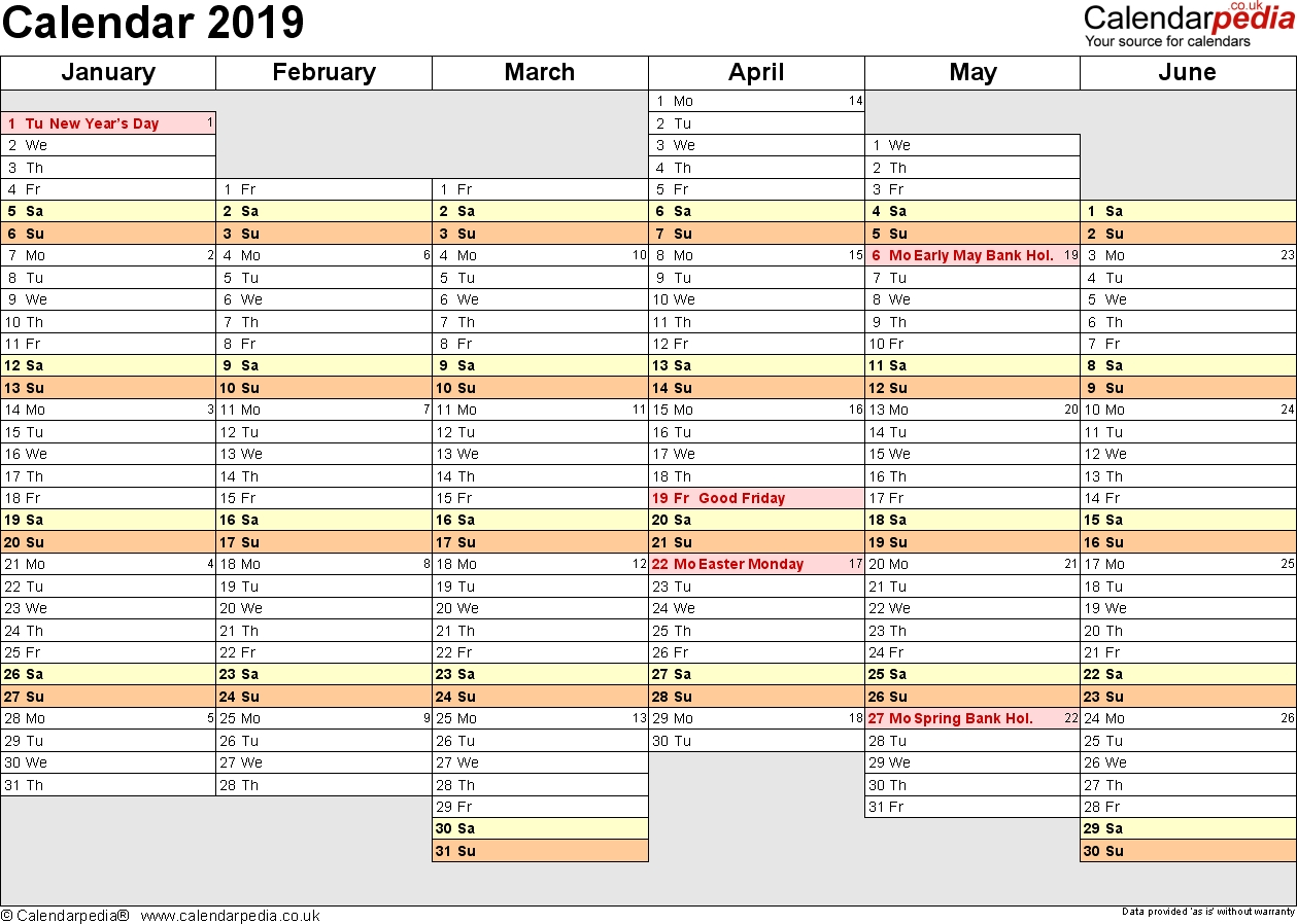 Excel Calendar 2019 Uk 16 Printable Templates Xlsx Free