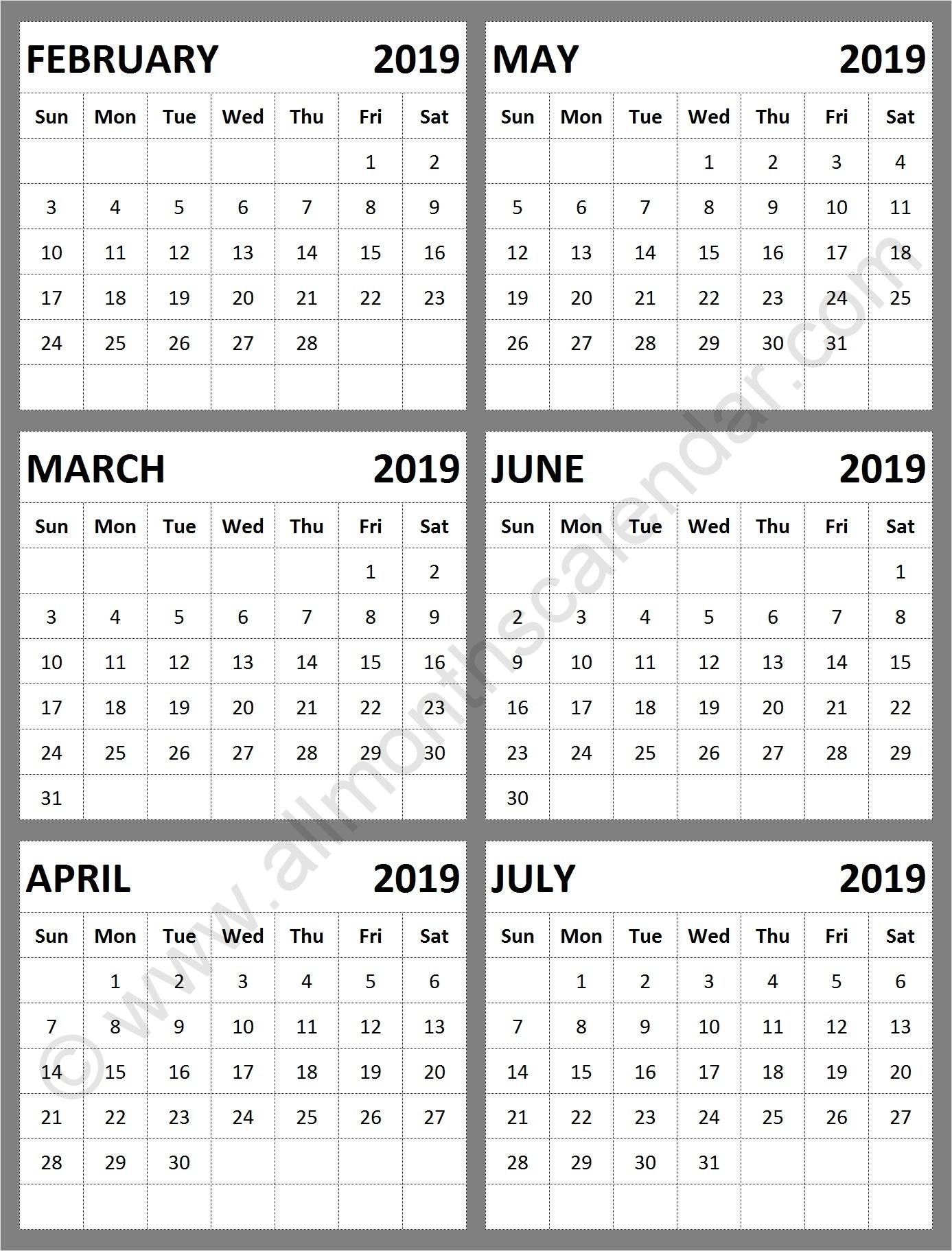 February March April May June July 2019 Calendar Template Calendar