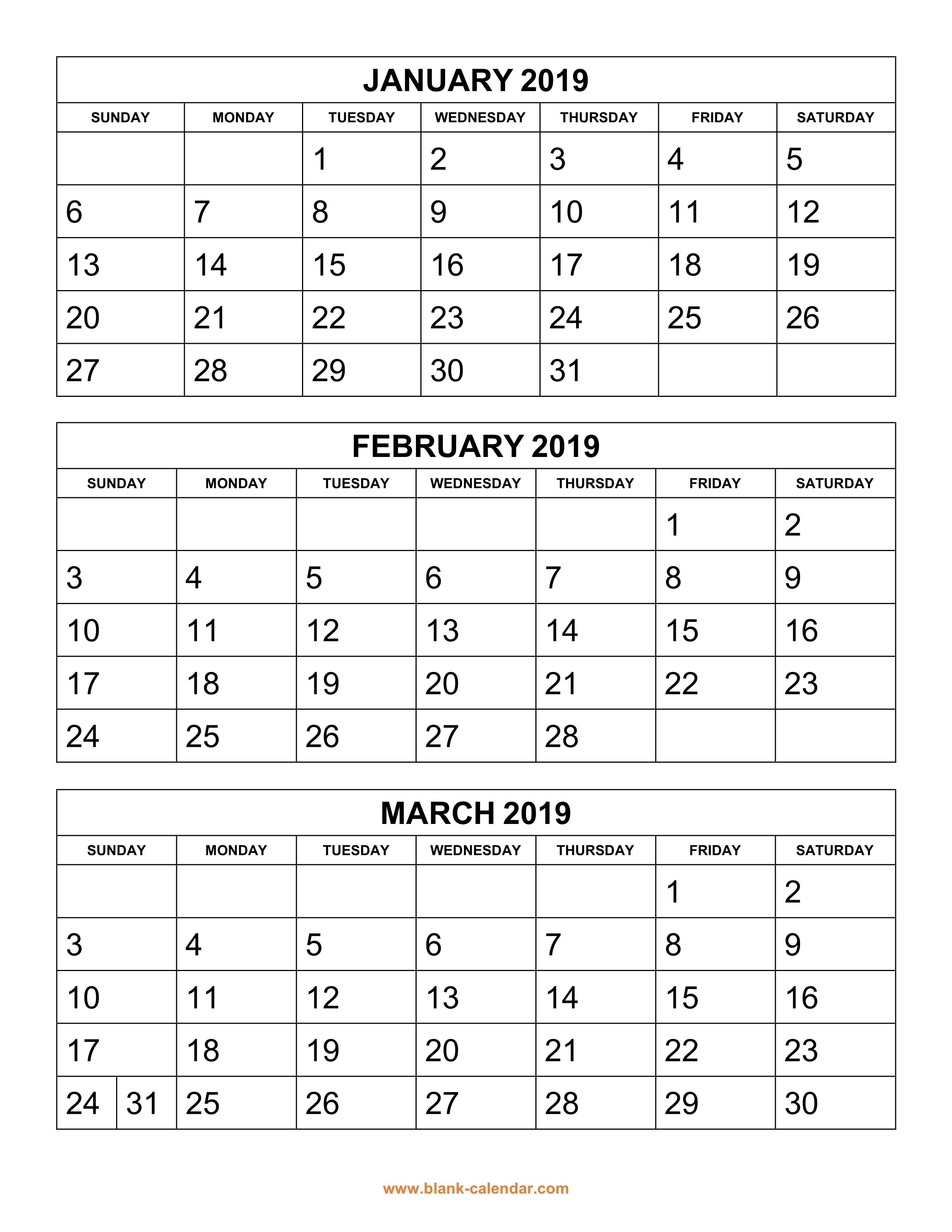 Free Download Printable Calendar 2019 3 Months Per Page 4 Pages