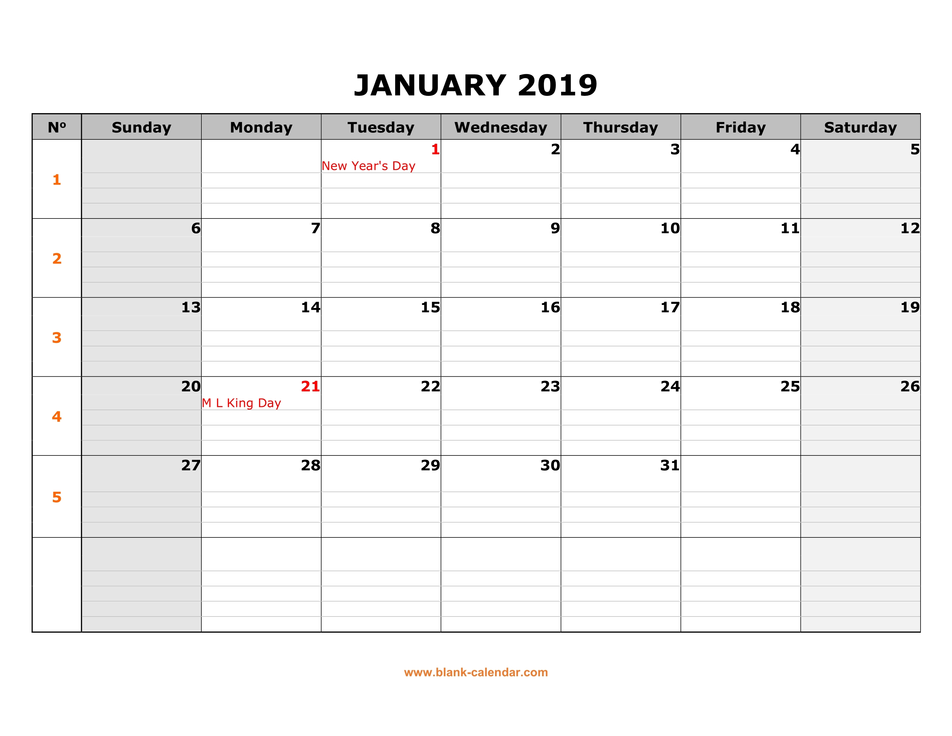 Free Download Printable January 2019 Calendar Large Box Grid Space