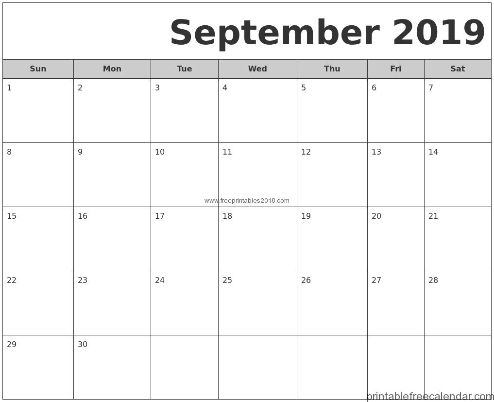 Free Printable September 2019 Calendar Templates Free Printables 2019