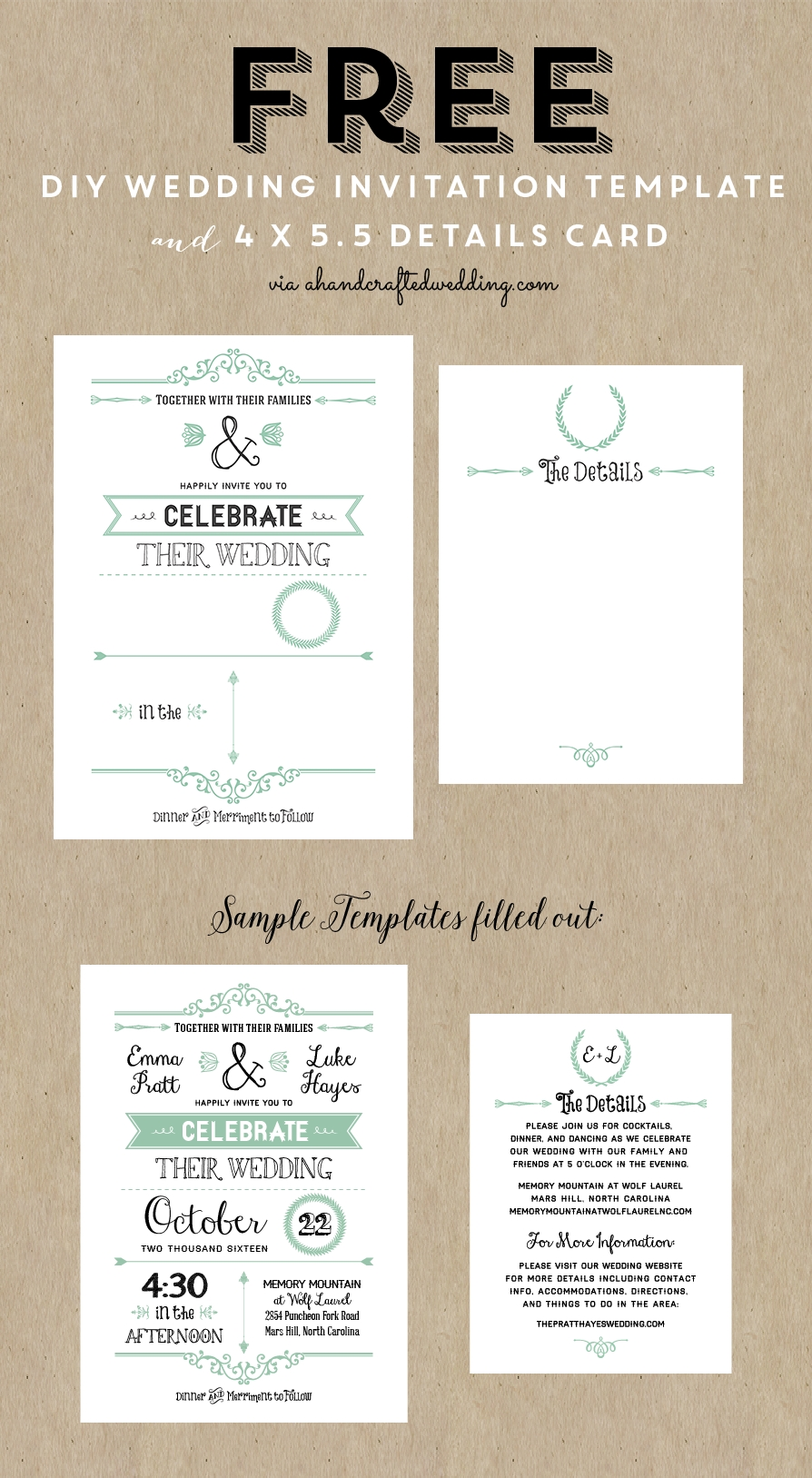 Free Printable Wedding Invitation Template Wedding Wedding