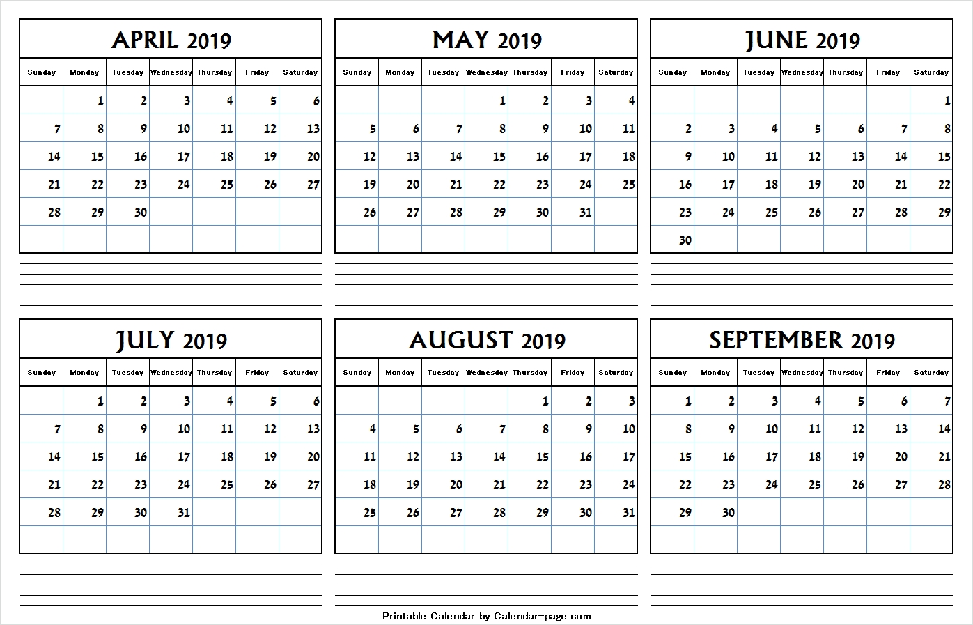 Half Year April September 2019 Calendar Blank 6 Month Calendar