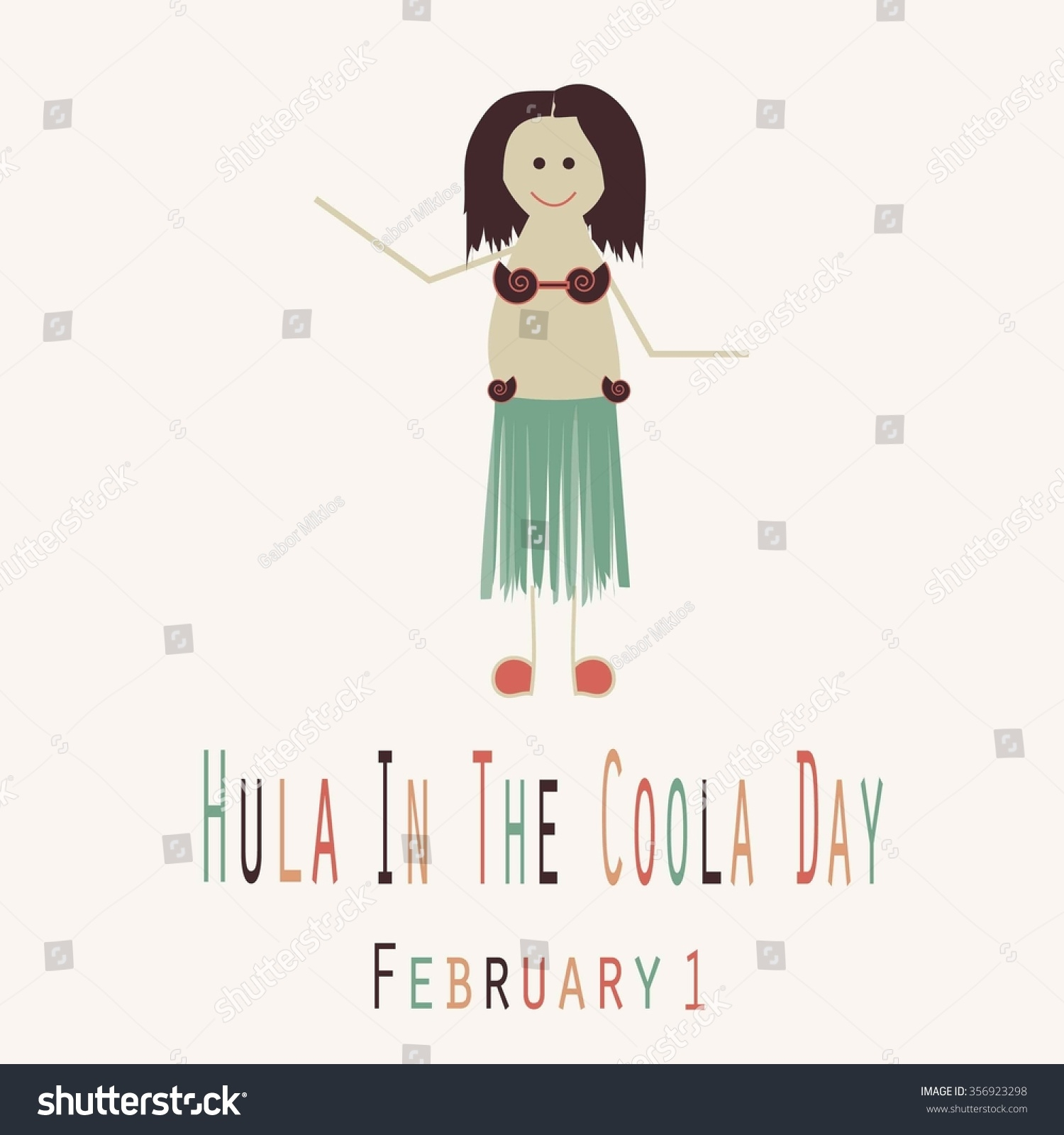 Hula Coola Day Funny Unofficial Holiday Stock Vector Royalty Free