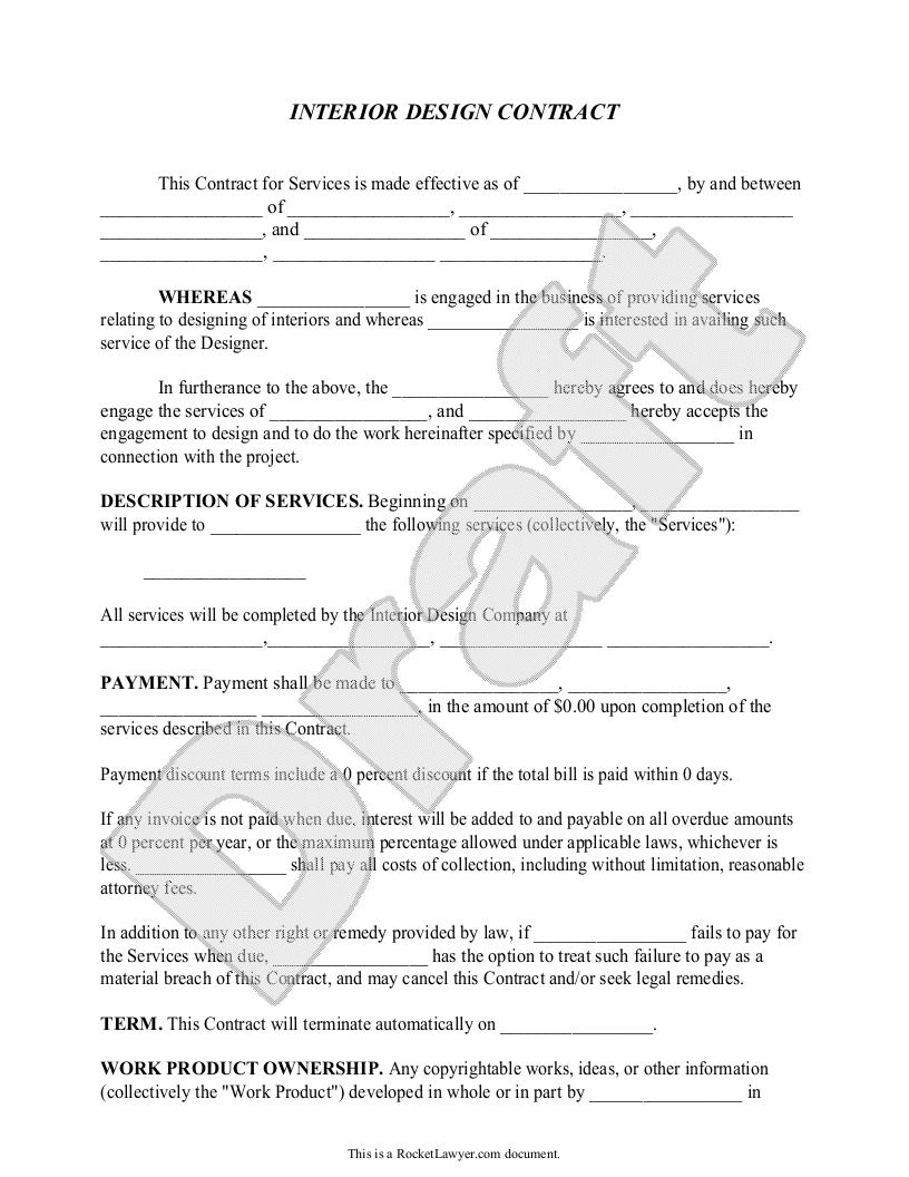 Interior Design Contract Agreement Template With Sample Interior