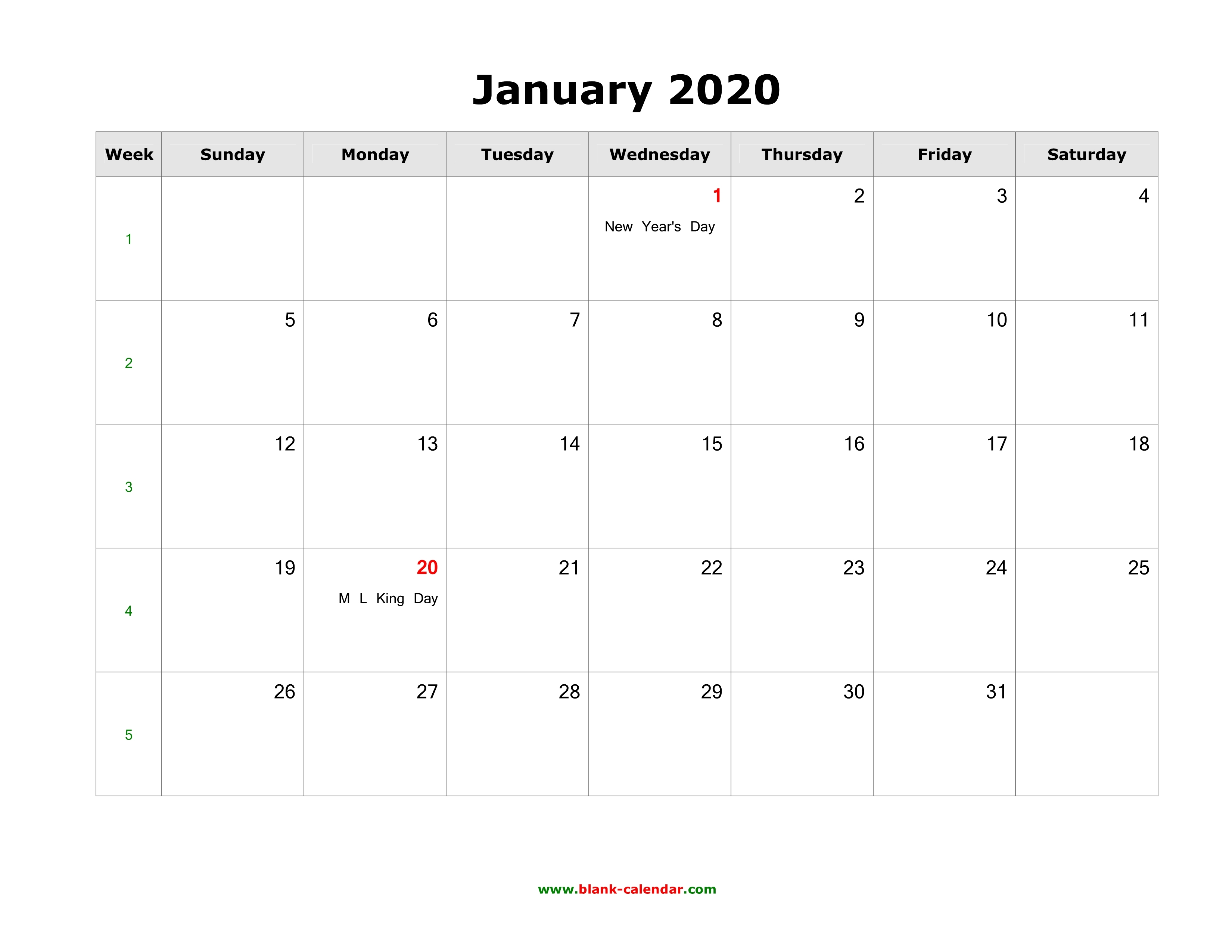 January 2020 Blank Calendar Free Download Calendar Templates