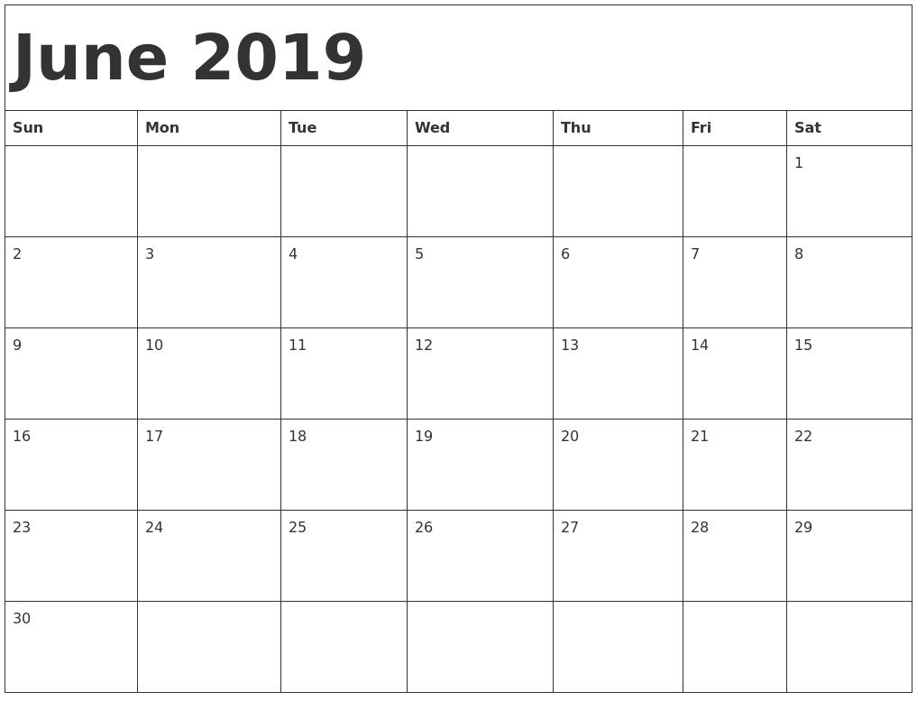 June 2019 Calendar Printable Get Here Free June 2019 Calendar