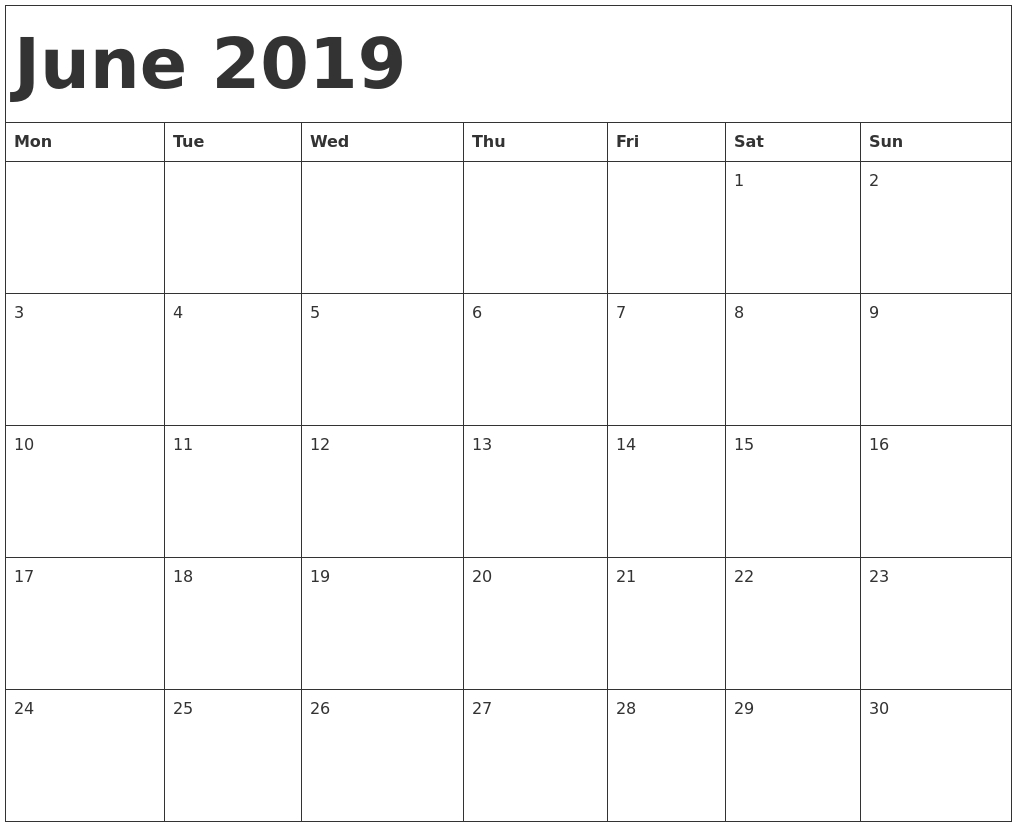 June 2019 Calendar Template Calendar End 2019 Calendar Printable