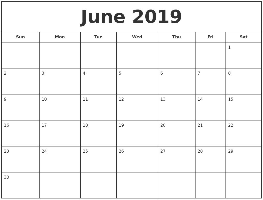 June 2019 Print Free Calendar