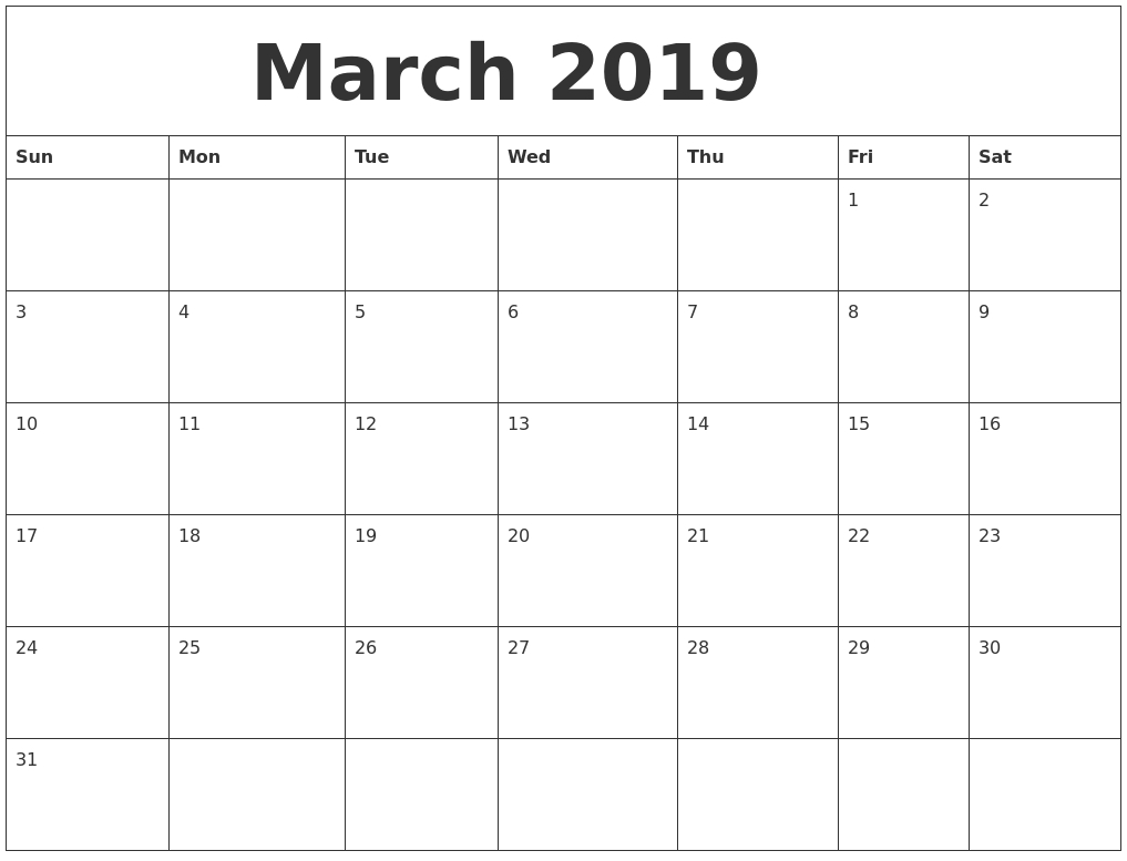 March 2019 Calendar Template For Word Excel Free Printable