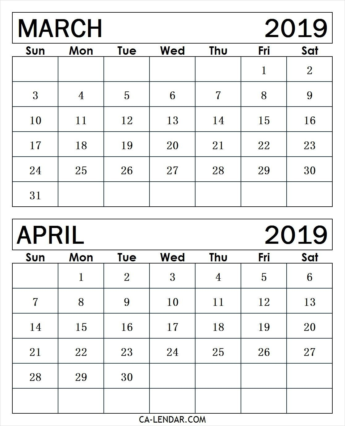 March April 2019 Calendar 2019 Calendar June 2019 Calendar 2019