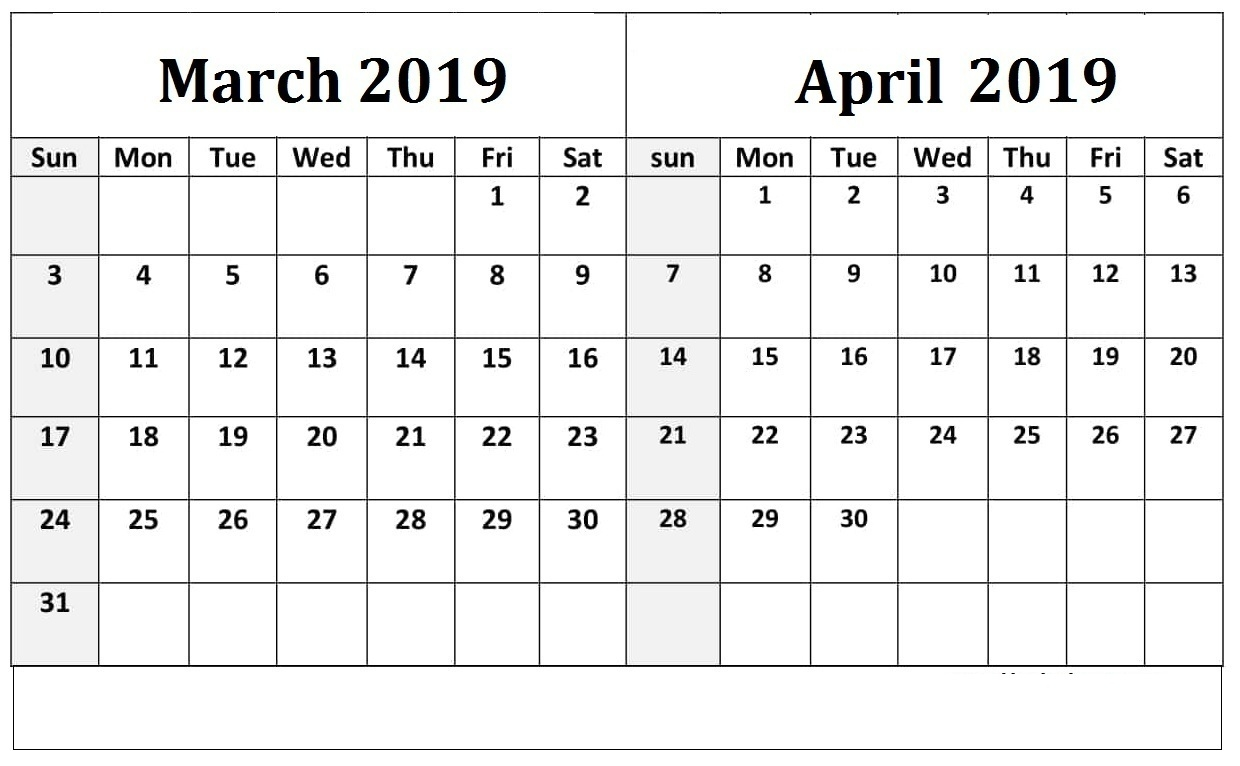 March April 2019 Calendar In Word Pdf And Excel Print Calendar
