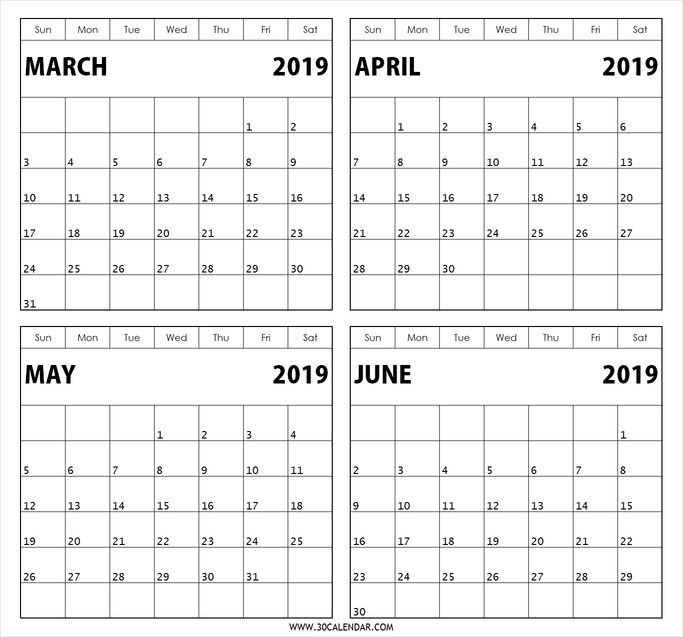 March April May June 2019 Calendar 4 Months Printable Template