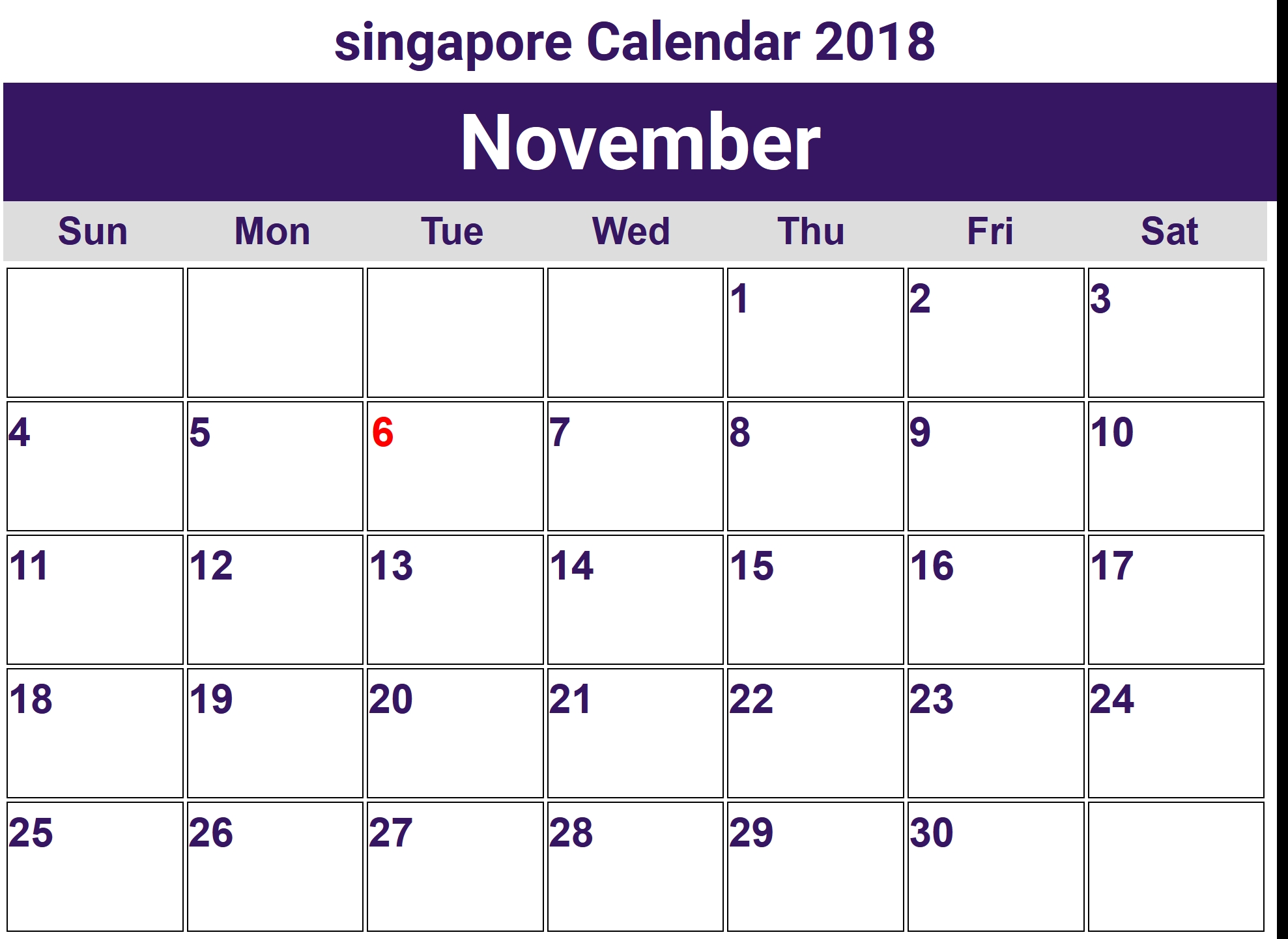 November 2018 Calendar Singapore Holidays Free March 2019 Calendar