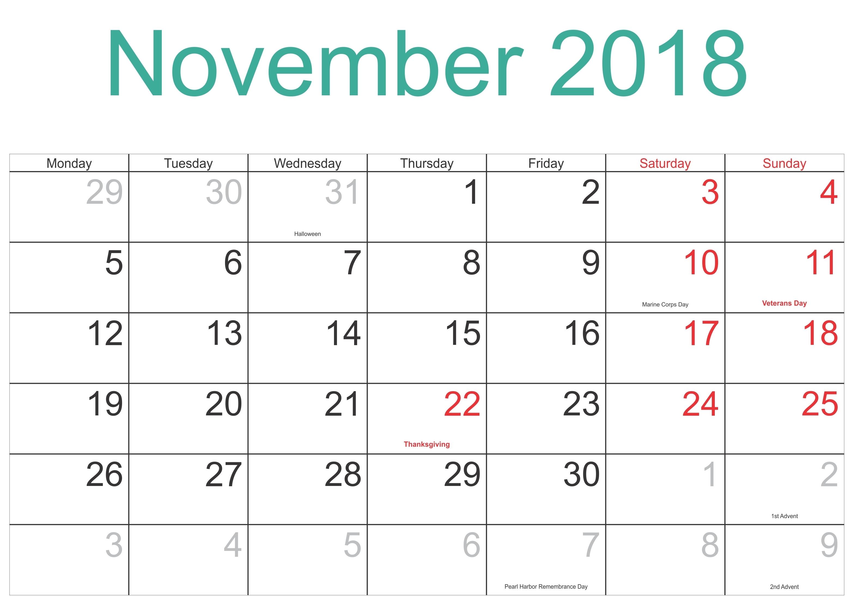 November 2018 Calendar Singapore Jazz Gear