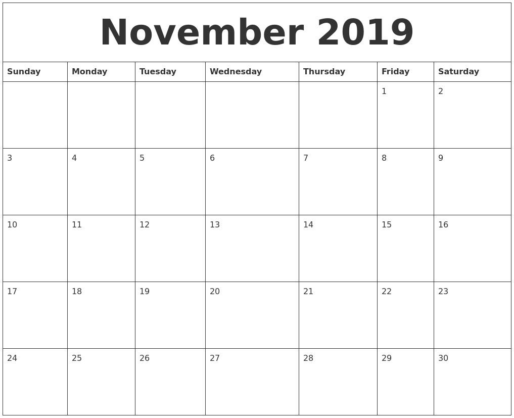 November 2019 Calendar Pdf Printable Calendar Template