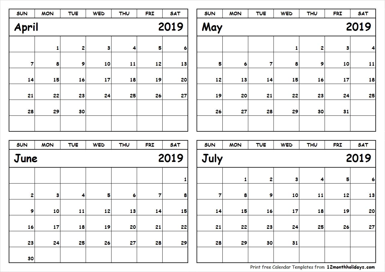 Print April To July 2019 Calendar Template 4 Month Calendar