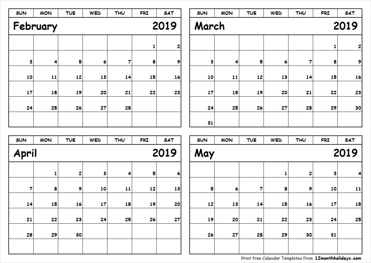 Print February To May 2019 Calendar Template 4 Month Calendar