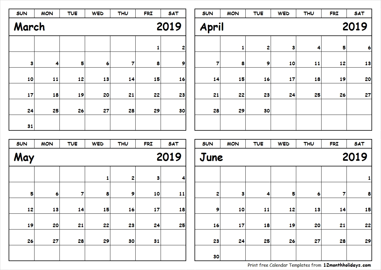 Print March To June 2019 Calendar Template 4 Month Calendar